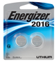 Energizer 2016BP-2 Button Cell Battery, 3 V, 2016, Lithium/Manganese Dioxide
